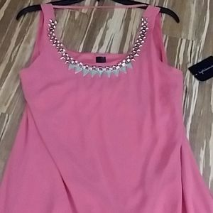 NWT Pink dress, sheer top with lining,  sz m